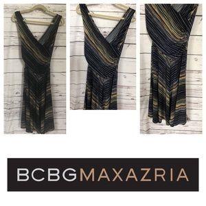 Bcbgmaxazaria Navy blue tan striped dress